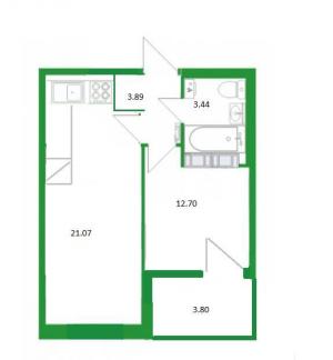 1Евро-комнатная квартира